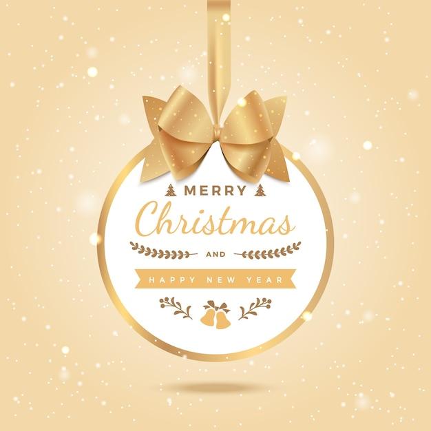 メリークリスマス新年あけましておめでとうございます挨拶の背景弓とリボンのクリスマスボール