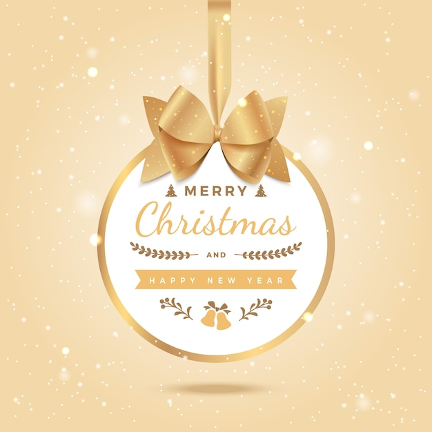 Merry christmas happy new year greeting background xmas ball with bow and ribbon
