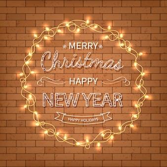메리 크리스마스 새 해 복 많이 인사말 배경 벽에 garlands와 크리스마스 카드 글자