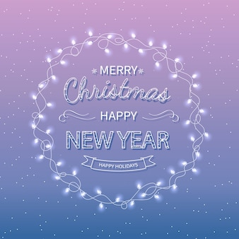 Merry christmas happy new year greeting background xmas card with garlands