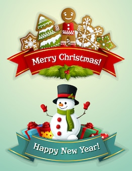 Merry christmas and happy new year greeting banner set