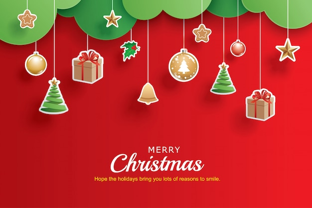 Merry christmas and happy new year greeting banner template