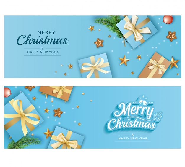 Merry christmas and happy new year greeting banner templates