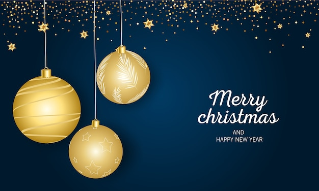 Merry christmas and happy new year greeting blue   with festive christmas balls and gifts.