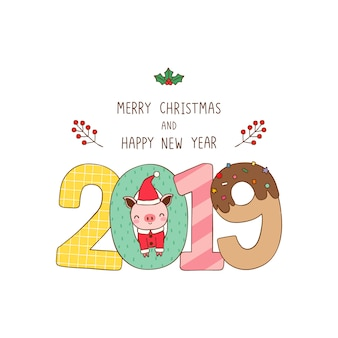 Merry christmas and happy new year greeting card 2019