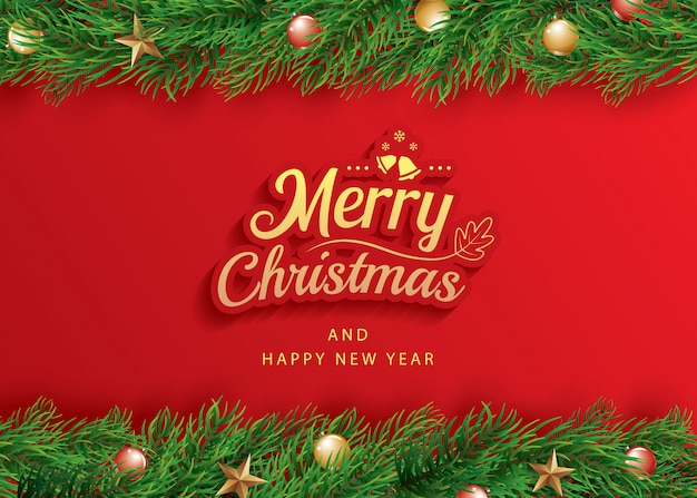 Merry christmas and happy new year greeting card banner template.