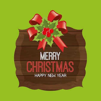 Merry christmas and happy new year greeting card, cartoon style