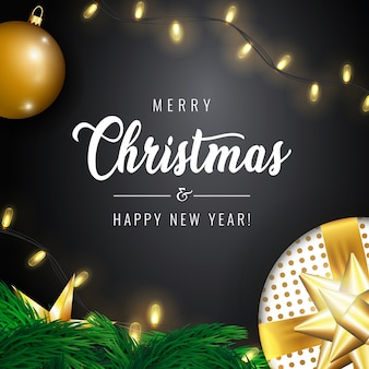 Merry christmas and happy new year greeting card and composition of festive elements like shiny christmas tree decorations