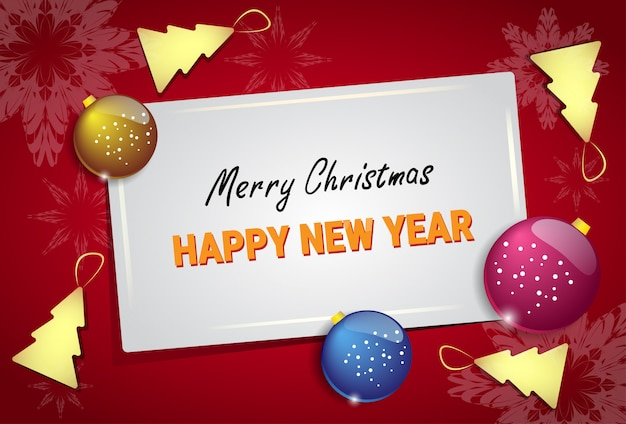 Merry christmas and happy new year greeting card decorated with balls