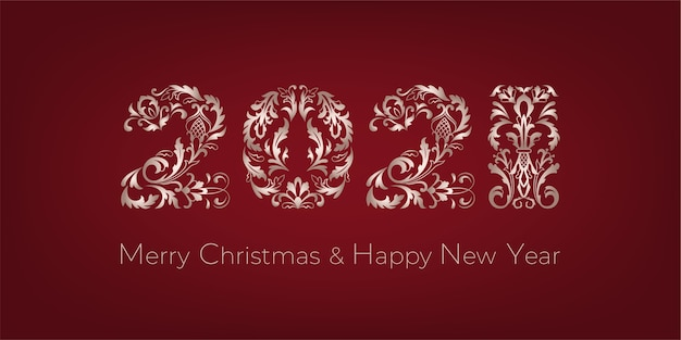 Merry christmas and happy new year greeting card. decoration numerals on a red backdrop.