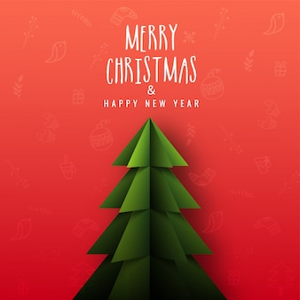 Merry christmas & happy new year greeting card design with paper cut xmas tree on red christmas festival elements background.