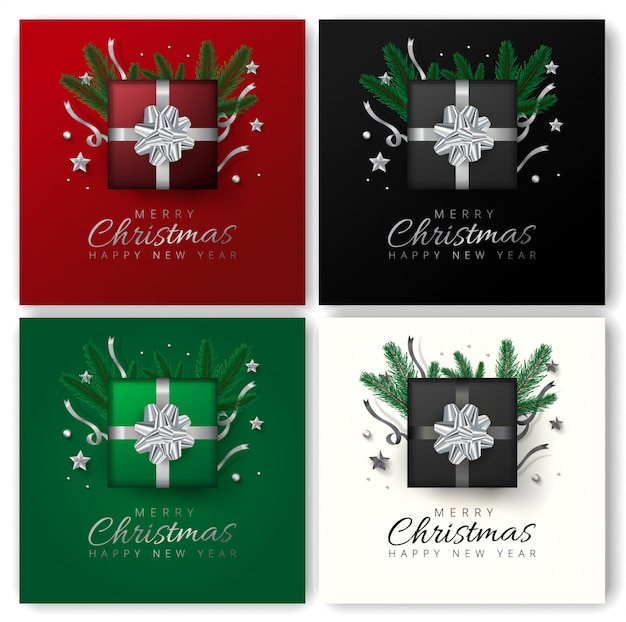 Merry christmas and happy new year greeting card design with top view of stars