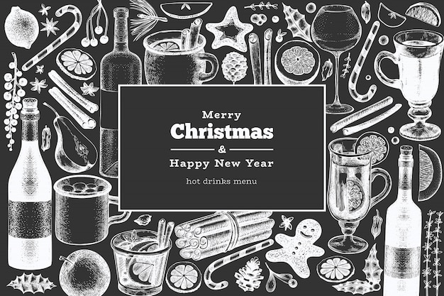 Merry christmas and happy new year greeting card. engraved style mulled wine, hot chocolate, spices illustrations on chalk board.