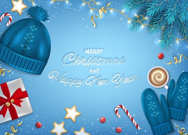 メリークリスマス明けましておめでとうグリーティングカードモミの枝、ニット帽、ミトン、ギフトボックス、花輪