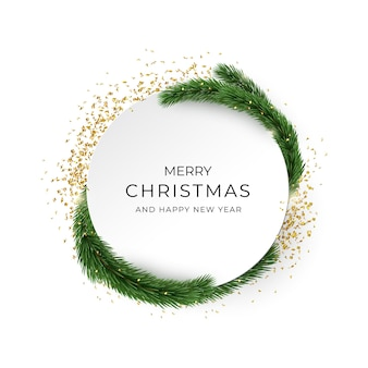 Merry christmas and happy new year greeting card. golden confetti and fir brunches