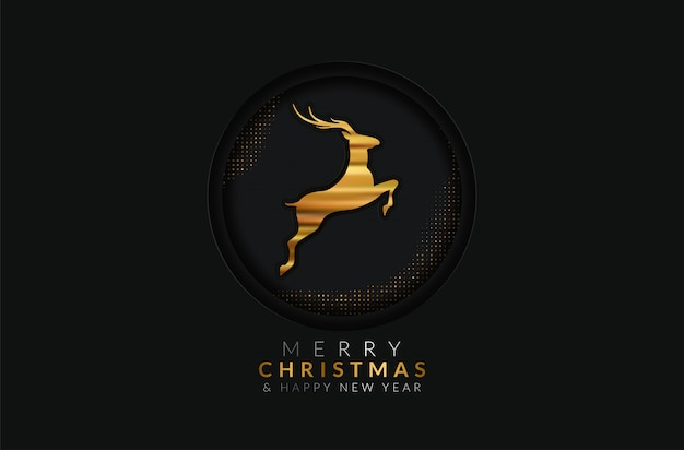Merry christmas and happy new year greeting card. golden decoration ornament