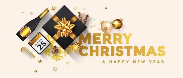 Merry christmas and happy new year greeting card. holiday design decorate with gift box, gold balls, wine bottle and star on bright background.