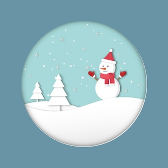 Merry christmas. happy new year greeting card. the holiday season of the cute snowman on the hills and snowflakes. vector paper cut style.