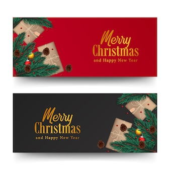 Merry christmas and happy new year greeting card horizontal banner