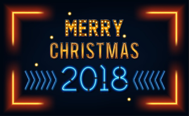 Merry christmas and a happy new year. greeting card or invitation pattern in neon style