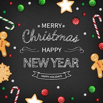 メリークリスマス明けましておめでとうございますグリーティングカード。黒の背景にスイーツとレタリング。