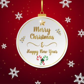 Merry christmas and happy new year greeting card on paper buble