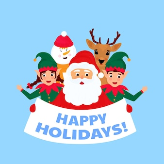 Merry christmas and happy new year greeting card. santa claus, deer, snowman, elf. happy holidays.