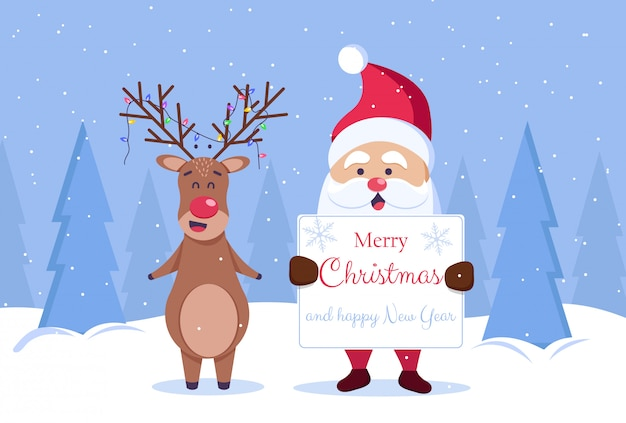 Merry christmas and happy new year greeting card. santa and deer
