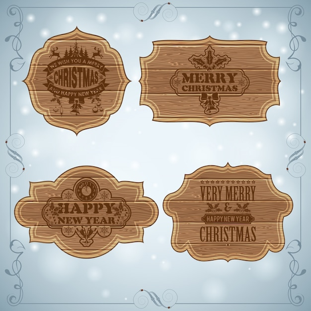Merry christmas and happy new year greeting card set