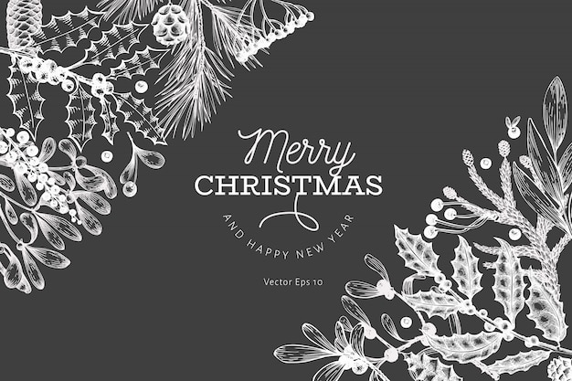 Merry christmas and happy new year greeting card template. vector hand drawn illustrations on chalk board. greeting card design in retro style.