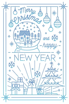 Merry christmas and happy new year greeting card template with festive decorations drawn in line art style