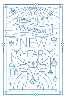 Merry christmas and happy new year greeting card template with holiday attributes drawn in line art style - deer antlers decorated with baubles, snowflakes, spruces.