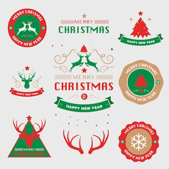 Merry christmas and happy new year greeting card typography flyer template. vector illustr