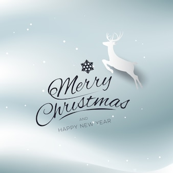 Merry christmas and happy new year greeting card typography flyer template