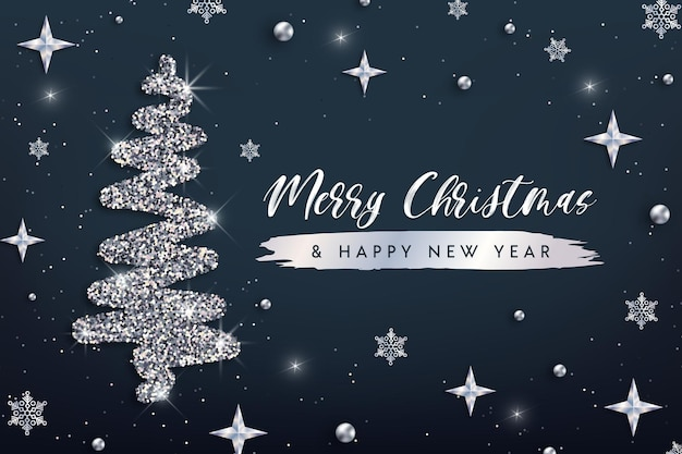 Merry christmas and happy new year greeting card vector christmas tree silver glitter background