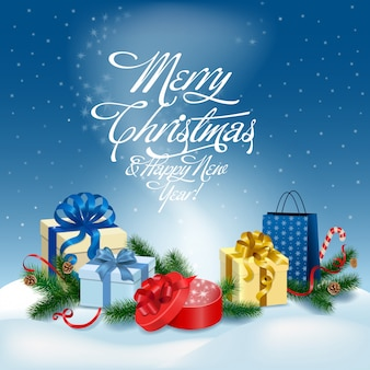 Merry christmas and happy new year greeting card vector illustration.