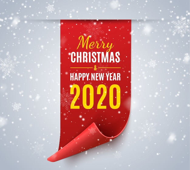 Merry christmas and happy new year greeting card. vector ribbon