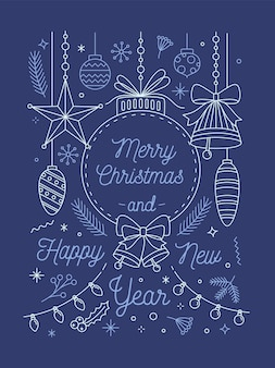 Merry christmas and happy new year greeting card vector template
