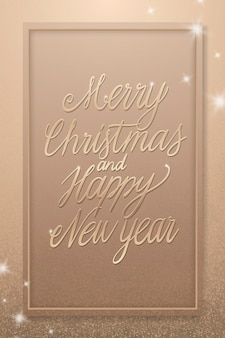 Merry christmas and happy new year, greeting card in vintage style