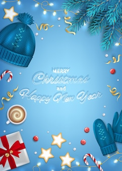 Merry christmas happy new year greeting card. winter elements hat, mittens, coffee, gifts.