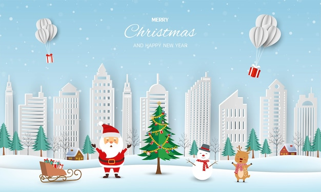 Merry christmas and happy new year greeting card,winter landscape with santa claus and friends
