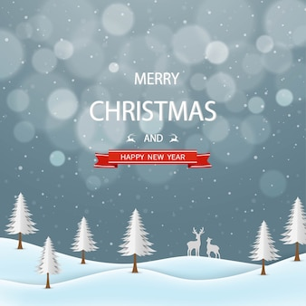 Merry christmas and happy new year greeting card,winter night landscape with text on gray background
