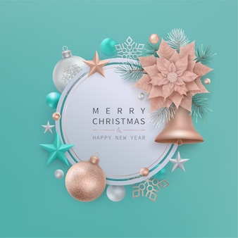 Merry christmas and happy new year greeting card with bell, stars, balls, snowflakes. round tag with copper color christmas flower poinsettia, fir branches