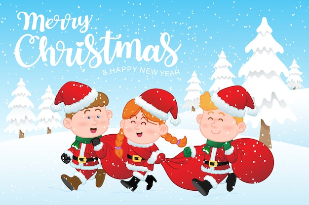 Merry christmas and happy new year greeting card with children wearing santa claus uniform, they're carrying red bag happy in christmas snow scene.