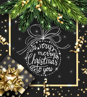 Merry christmas and happy new year greeting card with christmas branches  vector template