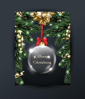 Merry christmas and happy new year greeting card with  christmas branches with gold bow