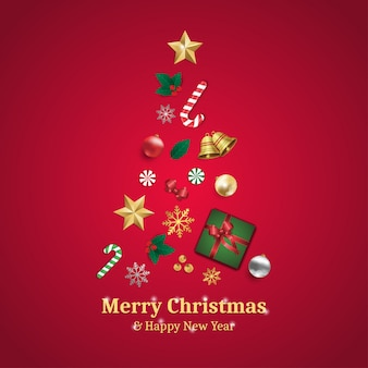 Merry christmas and happy new year greeting card with christmas tree elements