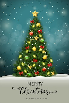 Merry christmas and happy new year greeting card with christmas tree vector