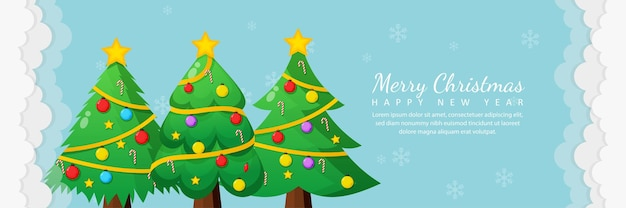 Merry christmas and happy new year greeting card with christmas tree