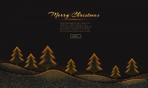 Merry christmas and happy new year greeting card  with christmas trees on black